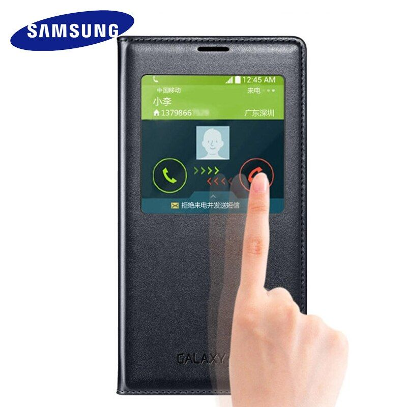 Samsung Galaxy S5 case 100% Original Flip Cases luxury leather silicon cover Smart sleep view window holster protection case S5