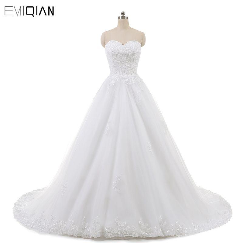 Real Photo Sleeveless Vintage Lace Wedding Dresses 2018 A Line Sweetheart Vestido de Noivas Ball Gown Free Shipping