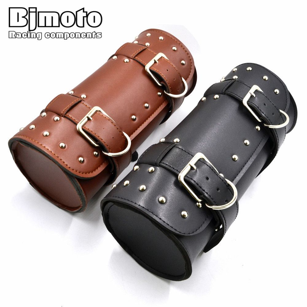 BJMOTO Motorcycle Saddle Bags Black Brown Leather Motorbike Side Tool <font><b>Tail</b></font> Bag PU Luggage Borsello Moto for Harley Universal