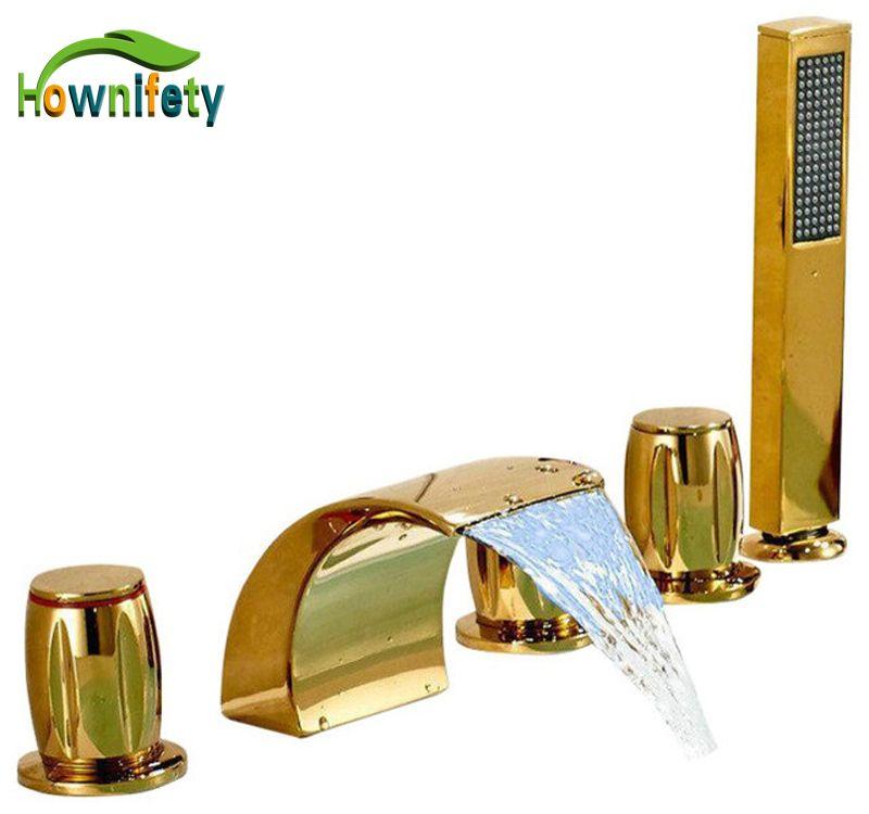 LED Licht Gold Platte Badezimmer Badewanne Wasserhahn Drei Griffe Mischbatterie mit Hand Dusche