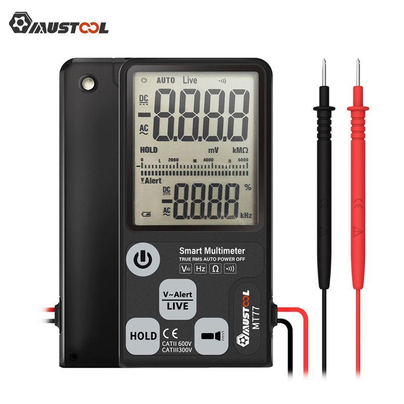 Testeur de tension multimètre numérique intelligent grand écran MT77 écran 3 lignes affichage entièrement automatique vraie gamme RMS 6000 comptes DMM