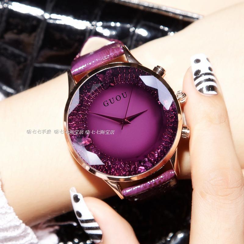 HK GUOU Brand Quartz Lady Watch <font><b>Rhinestone</b></font> Waterproof Women's Watch Genuine Leather Upscale Large Dial Luxury Gift Wristwatches