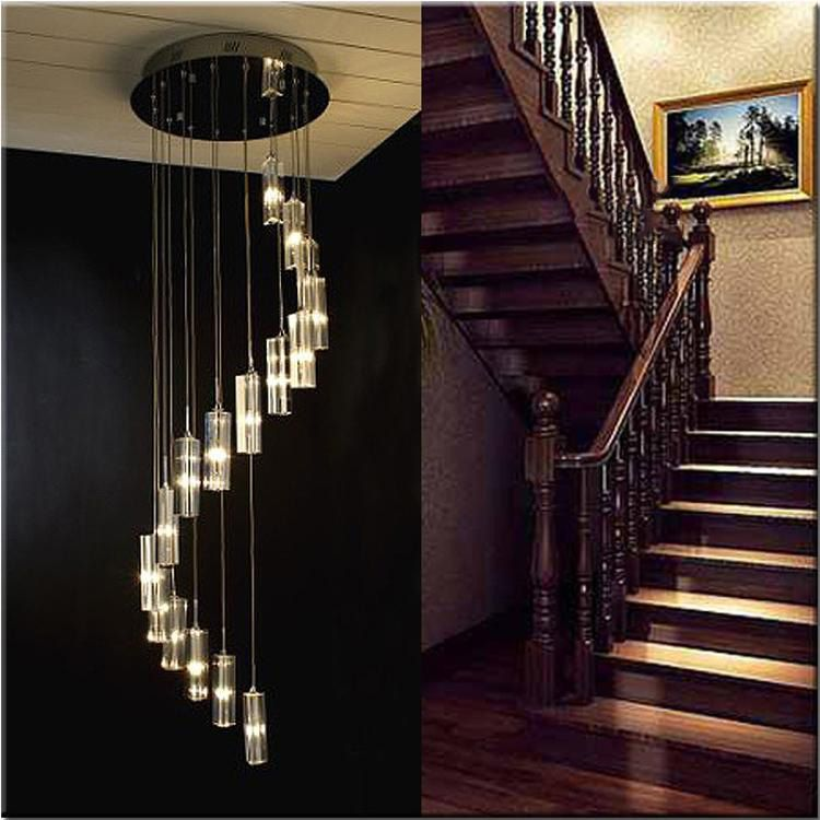 Spiral Crystal Chandelier For Stair Modern Living Room LED Crystal Light Long Hotel Hall Lustres Cristal Lamps