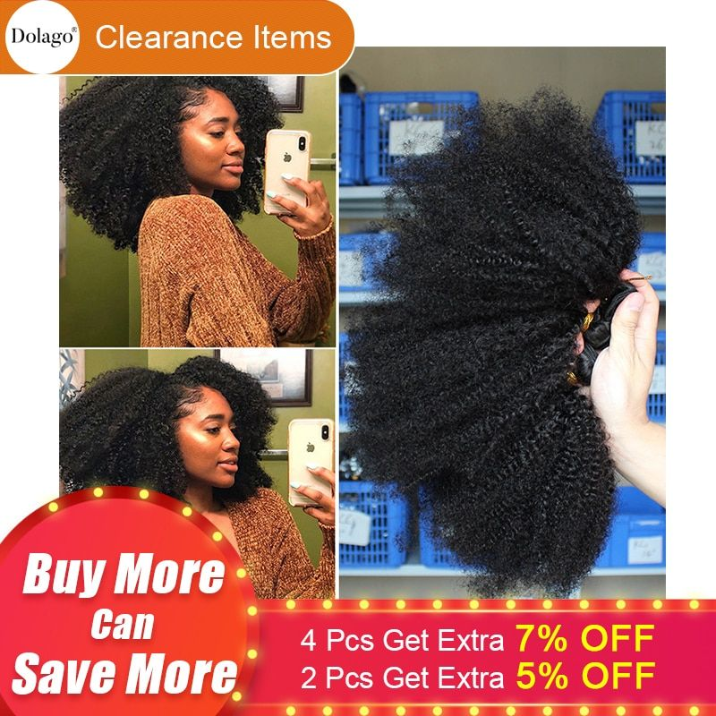Mongolian Afro Kinky Curly Hair Weave 4B 4C 100% Natural Black Virgin Human Hair Bundles Extension Dolago Hair Products 10-28
