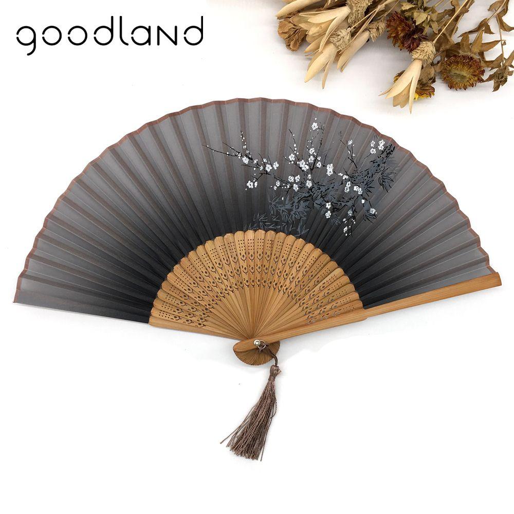 Livraison Gratuite 1 pcs Vintage Chinois Spun Silk Fleur Impression Main de Fan de Folding Creux Sculpté À La Main Fan Event & Party fournitures
