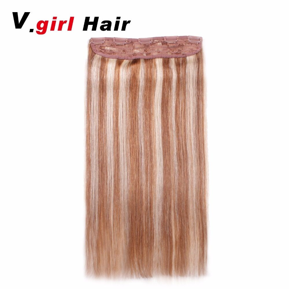 Clip In Human Hair Extensions 5 set Clips Brazilian Clip In Extensions Straight Clip Ins 100/Set 6/613 Color Machine Made