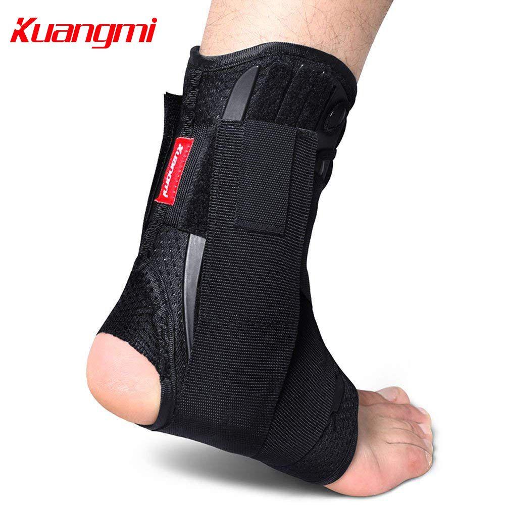 Support de cheville Kuangmi à lacets avec stabilisateurs latéraux et ceinture de fixation auxiliaire croisée Protection de force 1 pièce