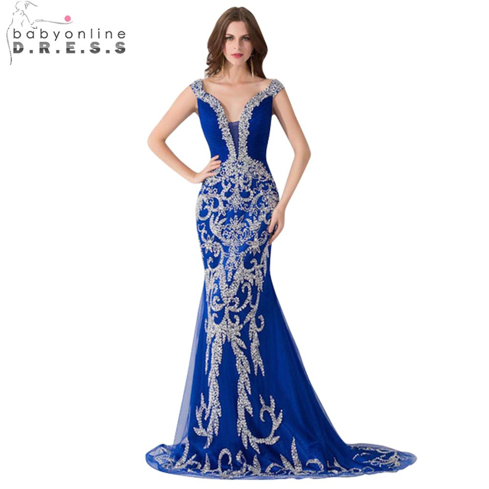 Royal Blue Evening Dress 2017 New Mermaid Evening Dress V-neck Beading Tulle Party Dresses Long Dress Custom Made Real Photos
