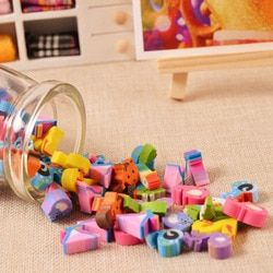 12-18 pcs Kawaii Mini Pencil Fruit Erasers Bottle Rubber Number Eraser for Kids Students Item Gifts Stationery School Supplies