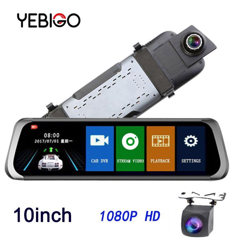 YEBIGO Auto DVR Kamera Dual Objektiv 10 zoll Full HD 1080 P Dashcam Rückspiegel Video Recorder Registrator Auto Cam dash Cam10