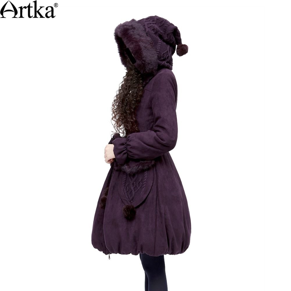 ARTKA Women's Winter Casual Rabbit Fur Quilted Coat Big Hoodie Knitted Belt Solid Cotton Warm Outerwear Padded Coat MA10621D