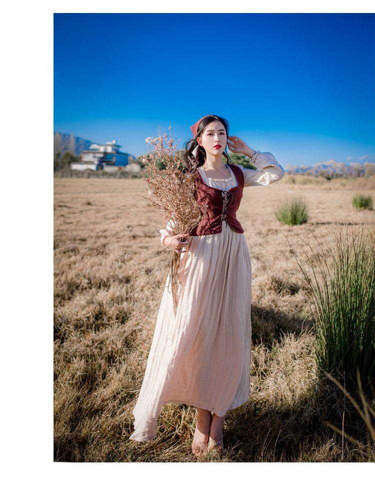 free ship ramie cotton scotland long vintage medieval dress Renaissance princess fairy costume Victorian dress/Marie