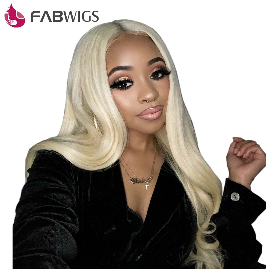 Fabwigs 150% Density #613 Blonde Full Lace Human Hair Wigs with Baby Hair Pre Plucked Brazilian Remy Full Lace Wig Human Hair