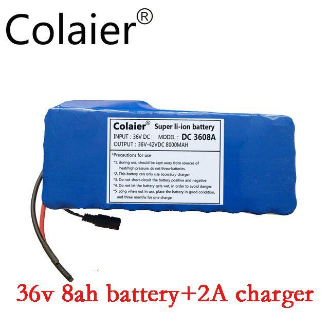 Colaier 36 V 8AH bike elektrische autobatterie roller mit hoher kapazität lithium-batterie + 42 V 2A Ladegerät