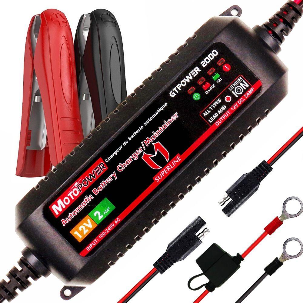 MOTOPOWER 2AMP chargeur de batterie de voiture intelligent 12V automatique pour les Batteries au plomb et les Batteries Lithium-Ion