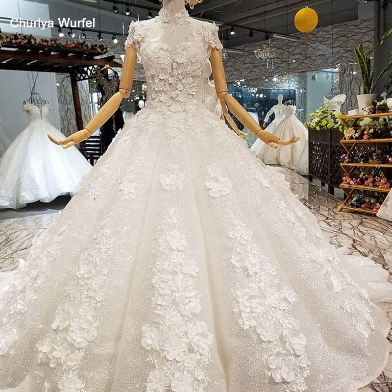LS850321 shiny ballkleid hochzeit kleid blütenblatt blumen high neck kurze ärmel elegante hochzeit kleid schnelle verschiffen freies lieferung