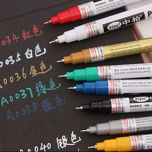 Pintura a Base de Aceite Marcador Sipa Plumas de Punta Fina 007mm pigma neelde plumas Surtidos Colores oro plata marcadores metálicos pintura de graffiti
