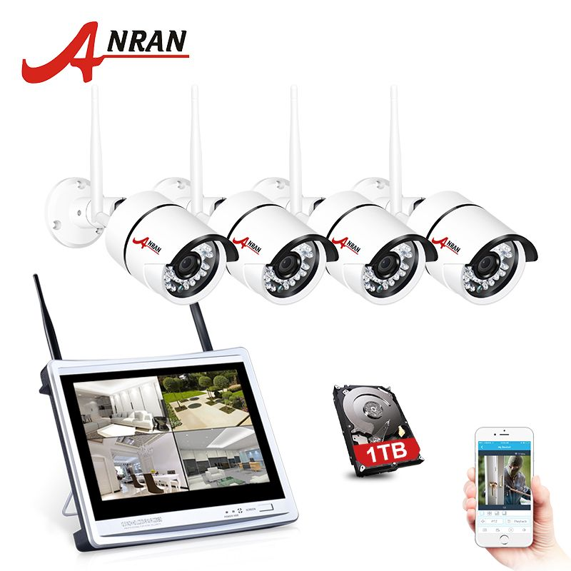 ANRAN 4CH 720P 12Inch LCD Screen Wireless NVR Surveillance CCTV 36IR Outdoor 1.0MP WIFI IP Camera Home Network Security System