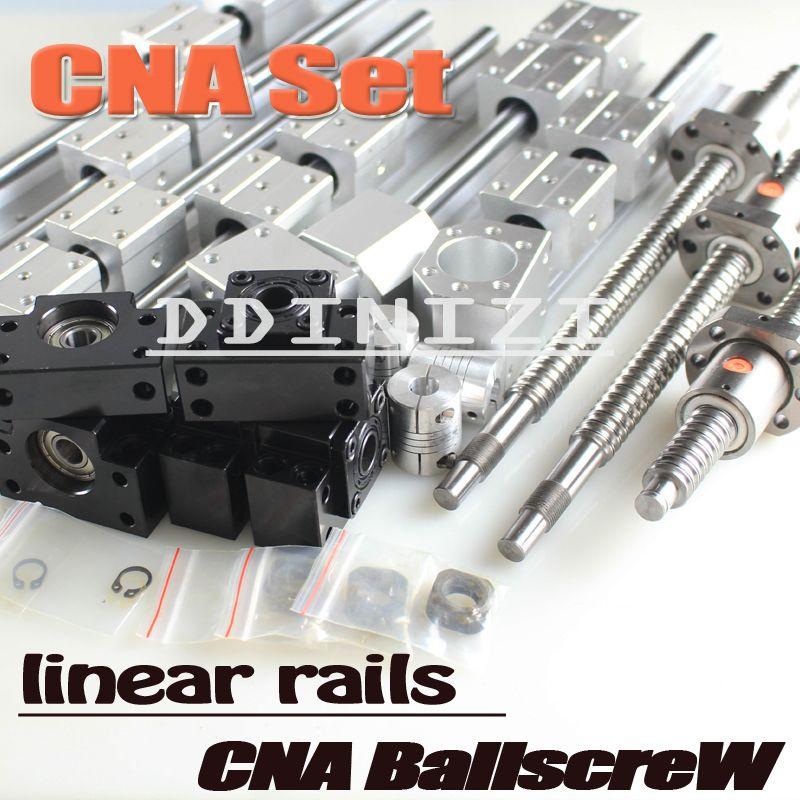 6 SBR linear Rail Guide 3 ballscrews , balls screws BK BF + Brackets couplings+Housings