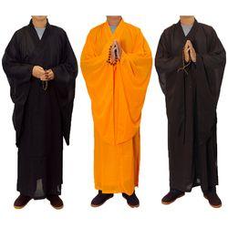 3 warna Zen Buddha Meditasi Lay Monk Robe Gown Pelatihan Seragam Setelan Berbaring Buddha Biksu pakaian set
