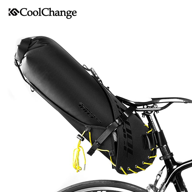 CoolChange Foldable Waterproof 20L Bike Saddle Bag Large Capacity Tail Rear Cycling Bicycle Bag MTB Trunk Pannier Cycle Bag