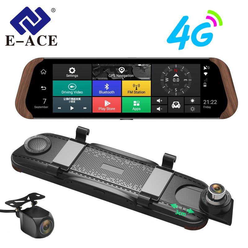 E-ACE Car Dvr Stream RearView Mirror Camera 4G Android FHD 1080P 10 Inch Dual Lens ADAS Video Recorder Auto Registrar Dashcam