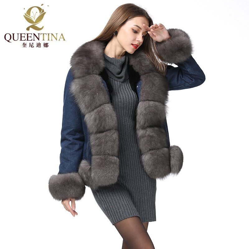 Real Fur Denim Parkas Coat Thick Warm Rex Rabbit Fur Liner 2018 Winter Jacket Genuine Fur Parkas with Detachable Natural Fox Fur