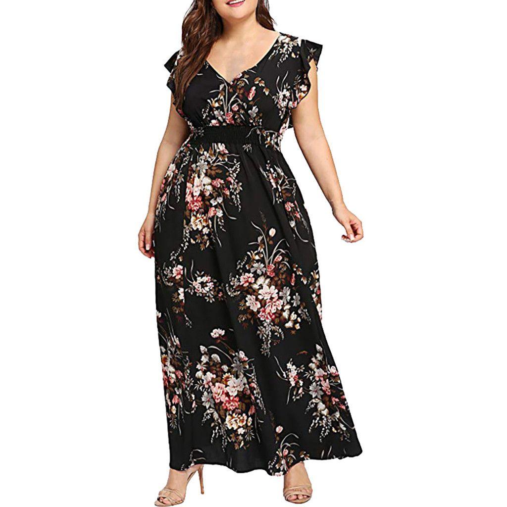 Femmes grande taille été col en V imprimé Floral Boho sans manches robe de soirée l coloré confortable respirer la mode