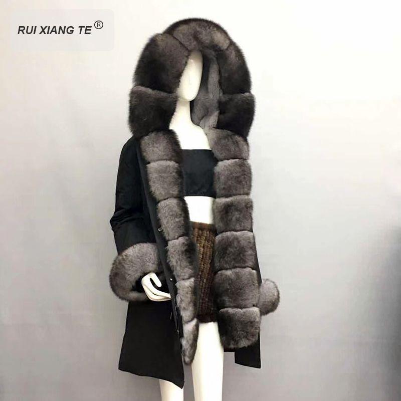 RuiXiangTe marke trendy echt pelz für frauen natürliche fuchs pelz PARKA mit kapuze linner rex kaninchen fell mit manschetten lange winter mantel