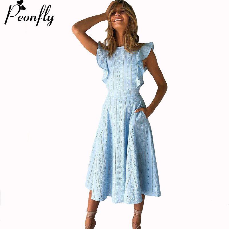 PEONFLY Women Blouse Dress Shirt Short Sleeves Crewneck Casual Female Clothing Elastic Waist Loose Cutting Dress Blouse