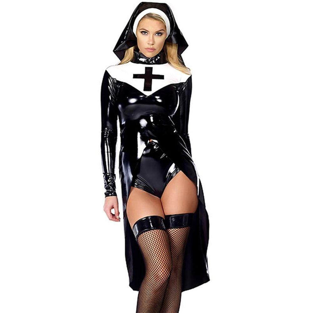 halloween cosplay M, L, XL Fashion Black Women sexy nun costume Vinyl Leather Cosplay Halloween Costume W850640