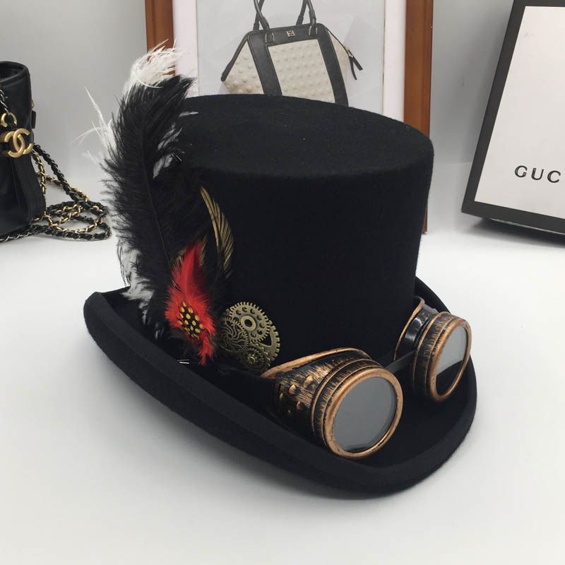 Europe and the United States steam era wool, President cap gear glasses feather stages cap hat fashion of England