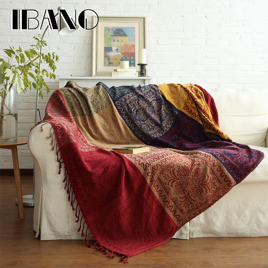 IBANO bohème Chenille Plaids couverture canapé décoratif jette sur canapé/lit/avion 150x190 cm/220x250 cm Cobertor couverture avec gland