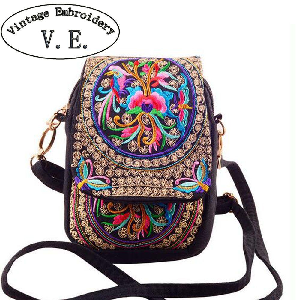 Chinois Vintage Broderie Sac National Ethnique Brodé toile couverture épaule messenger sacs petites pièces Téléphone sacs
