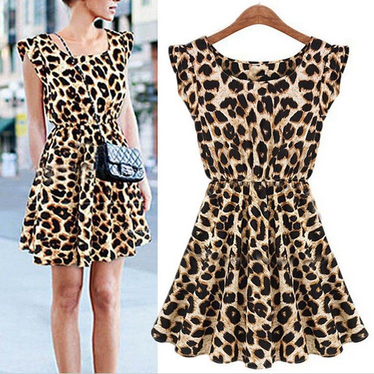 Fashion high-end boutique Europe and the United States sleeveless round leopard leopard dress comfortable breathable wild tide