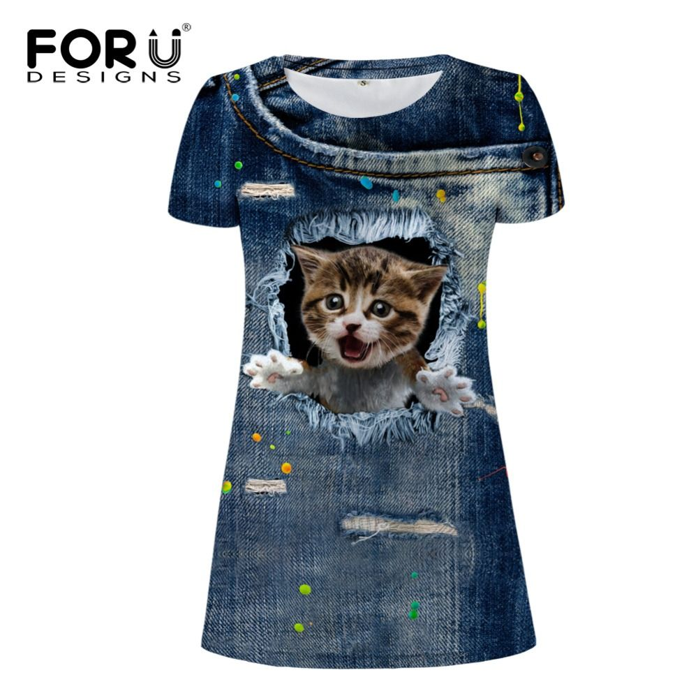 FORUDESIGNS 3d Denim Chat impression femmes robes, filles mode manches courtes robe de femmes décontracté mini tunique robes robes