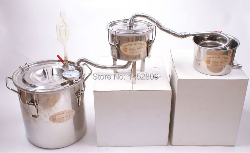 NEW 3 Pots DIY 3 Gal 12 L Home Alcohol Stainless Moonshine Still Water Whiskey Distiller Boiler Keg WIne Brewing Kit