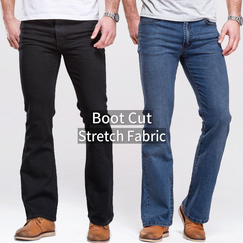 Herren jeans boot cut bein leicht ausgestellte slim fit schwarz mittlere taille männlichen casual jeans designer klassische stretch denim hosen