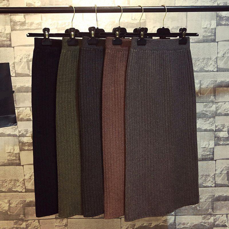 Hanyiren jupe crayon taille haute 2019 automne hiver femmes élégant tricoté moulante jupe noir solide dames tenue de bureau jupes