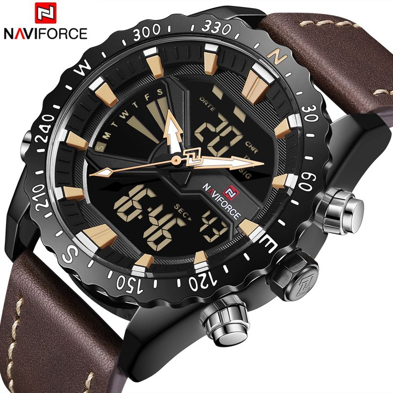 NAVIFORCE Mens Watches Leather Outdoor Sports Watches Men's Quartz LED Digital Clock Waterproof Military Wrist Watch