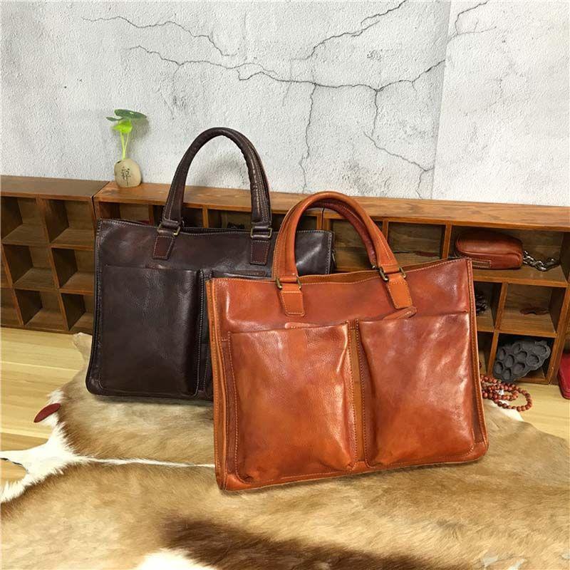AETOO Vegetable eucalyptus cream retro casual men bag hand-wipe color leather men's portable briefcase