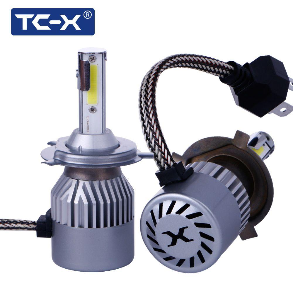 TC-X 2 Шт./лот COB светодиодные чипы H4 H7 880 H1 H11 9005 9006 COB Фар Автомобиля 72 Вт 6000LM СВЕТОДИОДНЫЕ Фары Автомобиля Лампы Противотуманные фары Pure белый