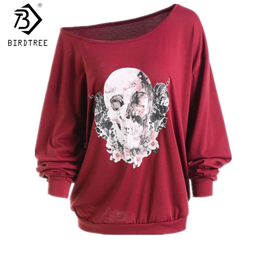 Europe and America Christmas Ugly Women T-shirts Skeleton Sexy Off Shoulder Shirt Halloween Pumpkin Devil Pullovers Tops T7N149A