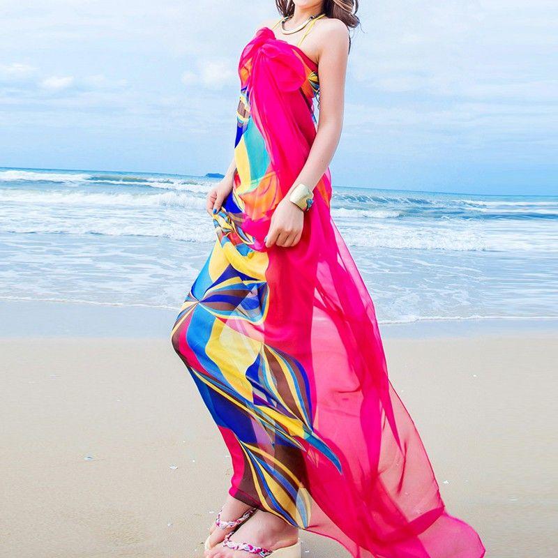 Frauen Chiffon Floral Beach Schals Sommer Damen Beachwear Warp