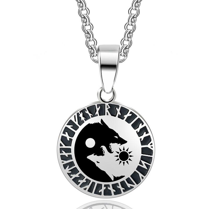 ABAICER - 1pcs Yin Yang Wolf Sun Moon 316L Stainless Steel Norse Vikings Pendant Necklace Viking Amulet Pendant Nordic Talisman