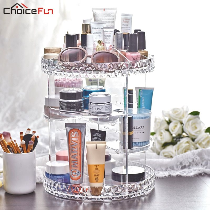 CHOICE FUN Rotating Clear Make Up Makeup Holder Organizador De Maquillaje Acrylic Bath Bathroom Makeup Organizer For Cosmetics