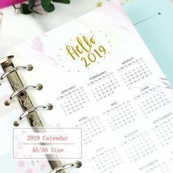 A5 A6 papier 2019 Kalender Kalendar Bunte Papier Nette Schutz Inneren Papier Spacer Planer Veranstalter Index Teiler Separator