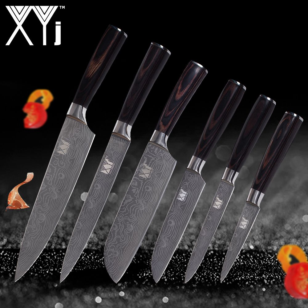 XYj Kitchen Knives Chef Slicing Santoku Utility Paring Damascus Veins Stainless Steel Knives Color Wood Handle Kitchen Tools