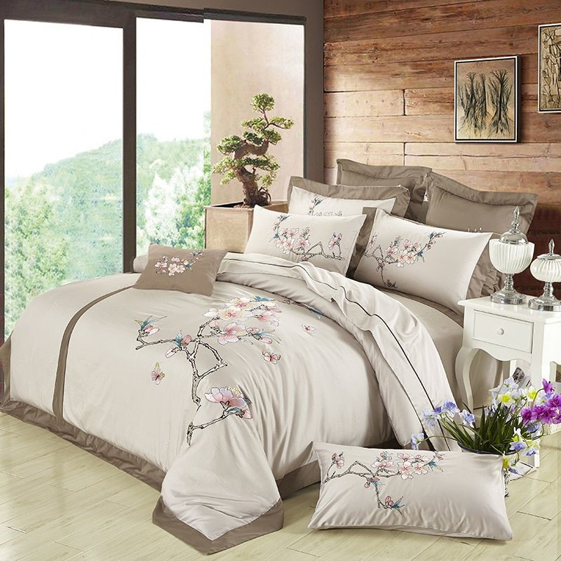 Brown Luxury Egyptian Cotton Embroidered Bedding sets Silk feeling Queen King size Floral Designer Duvet cover Bed sheet set