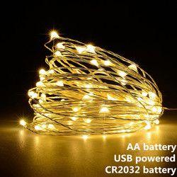 Гирлянда светодиодная гирлянда 1 м 2 м 5 м 10 м с питанием от USB на батарейках, наружная теплая белая/RGB Праздничная Свадебная вечеринка, декорат...